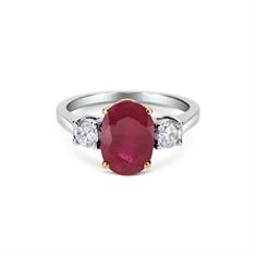 Oval Ruby & Brilliant Cut Diamond Claw Set Three Stone