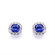 Tanzanite Cushion Cut Brilliant cut Diamond Claw Set Cluster Earrings