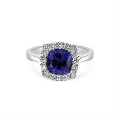 Square Cushion Cut Tanzanite & Brilliant Cut Diamond Cluster Dress Ring