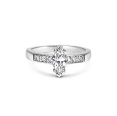Marquise Cut Diamond Single Stone With Brilliant Cut Grain Set Diamond Shoulders
