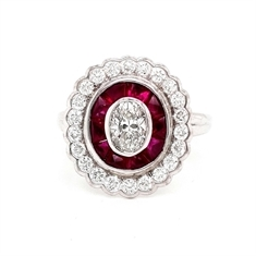 Oval Diamond And Ruby Target Cluster Ring