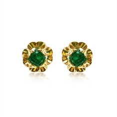 Octagon Emerald Scroll Ear Studs