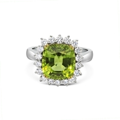 Claw Set Cushion Cut Peridot & Brilliant Cut Diamond Cluster Ring