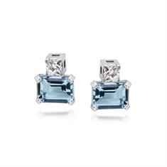 Octagon Aqua & French Cut Diamond Studs