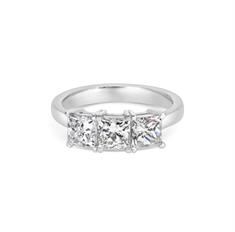 Princess Cut Claw Set Three Stone Engagement Ring 2.13ct