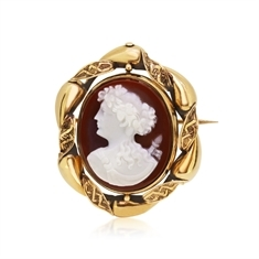 Stone Cameo Of Woman Set In 18ct Gold