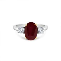 Oval Ruby & Diamond Three Stone Ring