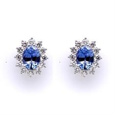 Oval Sapphire & Brilliant Cut Diamond Cluster Earrings