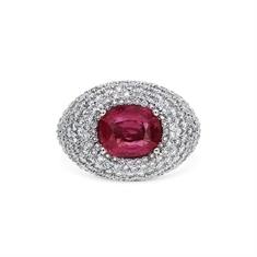 Oval Ruby & Pave Set Diamond Bombe Ring