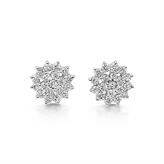 Brilliant Cut Tiered Claw Set Cluster Stud Earrings
