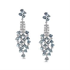 Aqua & Diamond Waterfall Drop Earrings