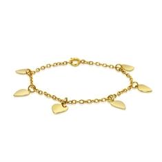 Yellow Gold Heart Charm Bracelet