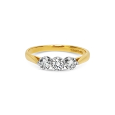Brilliant Cut Claw Set Diamond Three Stone Ring 18ct Yellow & White Gold