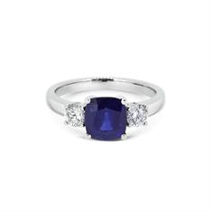 Cushion Cut Sapphire & Diamond Three Stone Ring