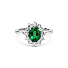 Emerald Oval & Brilliant Cut Diamond Cluster Ring