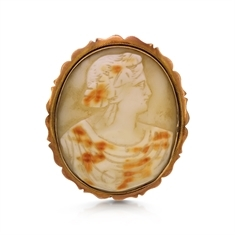 Victorian Stone Cameo Set In 9ct Yellow Gold