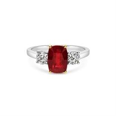 Cushion Cut Ruby & Brilliant Cut Diamond Three Stone Engagement Ring
