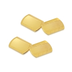 Textured Yellow Gold Cufflinks Rectangular With Rounded Ends
