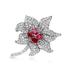 Edwardian Ruby & Diamond Flower Brooch