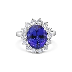 Claw Set Oval Tanzanite & Brilliant Cut Diamond Cluster Ring