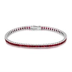 8.65ct Ruby Princess Cut Channel Set Line Bracelet