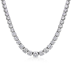 Brilliant Cut Diamond Line Necklace 12.07ct