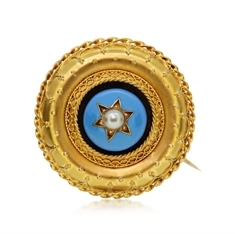 Victorian Circular Enamel, Pearl & 18ct Yellow Gold Brooch