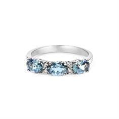 Claw Set Aqua Diamond Alternate Half Eternity Ring