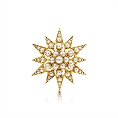 Victorian 18ct Yellow Gold Pearl Star Brooch