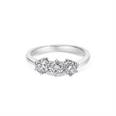 Claw Set Brilliant Cut Diamond Three Stone Engagement Ring