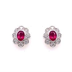 Oval Ruby & Diamond Cluster Stud Earrings
