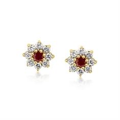 Ruby & Diamond Daisy Cluster Stud Earrings