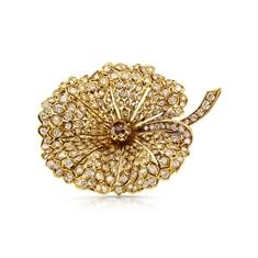 Yellow Gold & Diamond Leaf Brooch