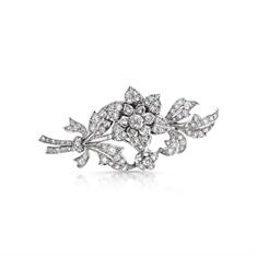 Diamond Floral Tremblant Spray Brooch