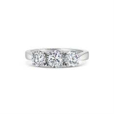 Three Stone Brilliant Cut Claw Set Diamond Engagement Ring