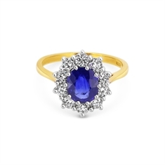 Oval Sapphire & Brilliant Cut Two Tone Cluster Engagement Ring