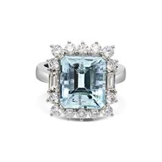 Octagon Aquamarine & Diamond Ring