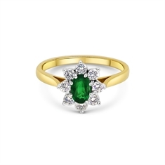 Oval Emerald & Brilliant Cut Diamond Cluster Ring