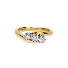 Brilliant Cut Diamond Three Stone Cross Over Ring 0.60ct