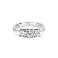 Claw Set Three Stone Princess Cut Diamond Engagement Ring 1.58ct