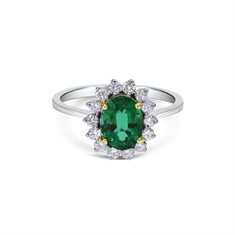 Emerald Oval & Brilliant Cut Claw Set Cluster Ring