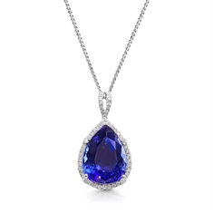 Pear Shape Tanzanite & Diamond Micro Set Cluster Pendant