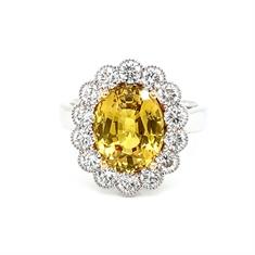 Yellow Sapphire Diamond Cluster Ring 5.04ct