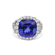 Cushion Cut Tanzanite & Brilliant Cut Diamond Dress Ring