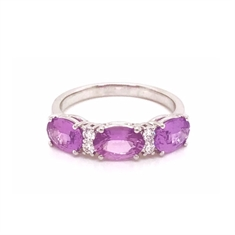 Pink Sapphire Oval Diamond Half Eternity Ring