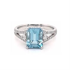 Octagon Aquamarine & Micro Set Diamond Split Shoulder Dress Ring