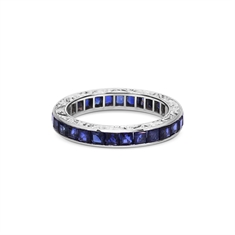 Carre Cut Sapphire Channel Set Full Eternity Ring