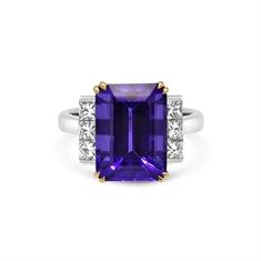 Octagon Tanzanite & Princess Cut Diamond Dress Ring
