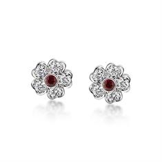 Ruby & Diamond Flower Stud Earrings