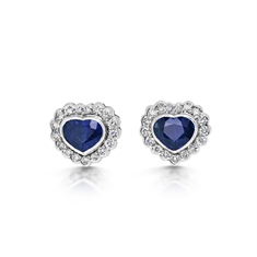 Heart Shape Sapphire & Diamond Cluster Stud Earrings